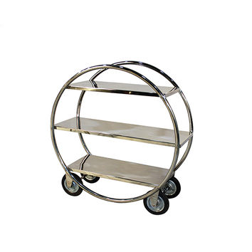 Yosemite Home Decor YFUR-AMYOBAR20 Shiny Stainless Steel Outdoor Circular Bar Cart