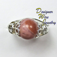 DWJ0159 Lovely Pink Rhodochrosite Solitaire Wire Wrap Ring All Sizes