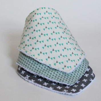 Geometric Bandana Bibs, Set of 3, Triangles, Crosses, Plus, Grey, Green, Turquoise, Fashion, Stylish, Cute baby shower gift, Drooling Bib