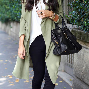 Green Lapel Long Sleeve Trench Coat