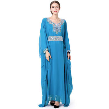 Babalet Womens' Elegant Modest Muslim Islamic Dubai Jilbab Long Sleeve Rhinestones Embroidery Long Maxi Abaya Evening Dress