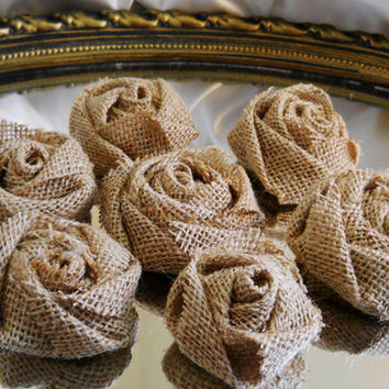 "Set of 10, 3"" Tight Weave Natural Burlap Roses for weddings, bouquet making, wedding decor, scrapbooking, gifts, crafts"