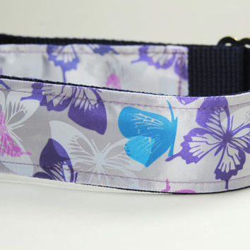 Purple Blue Pink Butterfly Large Dog Collar Leash Set