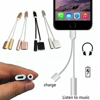 2 In 1 for Lighting To 3.5mm Earphone Audio Jack and Charger Adapter Connector Cord Headset Adapter Cable Line for IPhone 7 7 Plus