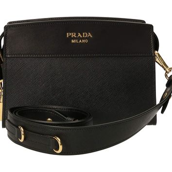 Prada Black Leather Clutch Bag With Shoulder Strap 1bh043 Waist bag