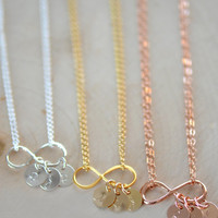 Dainty Personalized Infinity Necklace , Infinity Necklace ,  Personalized Initial Necklace, Bridesmaids Necklace, Gift , Mother's Necklace