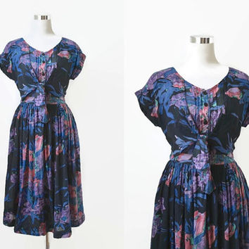 Vintage Festival Dress - 80s 90s - Hippy Boho - Blue Purple - Made In India - Rayon Gauze Cheesecloth - Floral Midi Dress