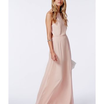 Missguided - Pascaline High Neck Strappy Maxi Dress Nude