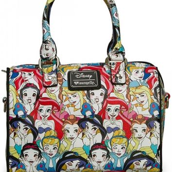 """Disney Princesses"" Classic Print Crossbody Duffle by Loungefly (Multi)"