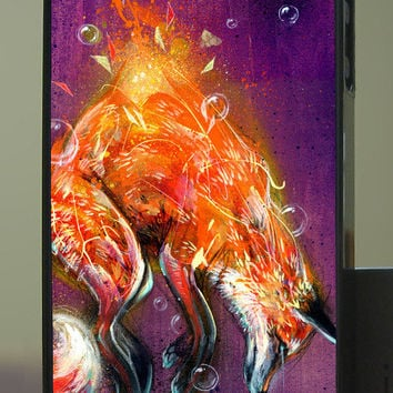 """Fox Phone Case - Art Phone Case for iPhone and Samsung Galaxy - """"Suspension"""" by Black Ink Art"""