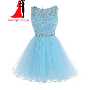 New Short Prom Dresses Light Blue Homecoming Dresses 2017 Tulle With Lace Appliques Crystal Beads Belt Cocktail Dress