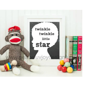 "Boy's Printable Print. ""Twinkle Twinkle Little Star""  8x10. Instant Download. Afro-American. Wall Art."