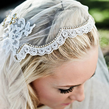 Lace Juliet Bridal Cap Wedding Veil, Alencon Lace Rhinestone Scallop, Fingertip, Waltz, Chapel, Cathedral, Style: Dolly #1205