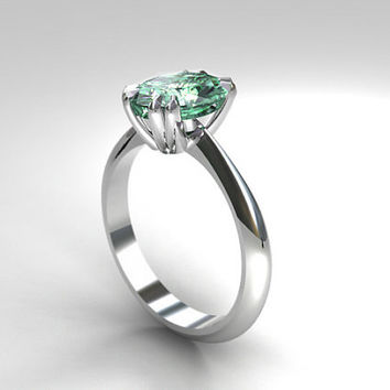 Oval cut Mint green tourmaline solitaire engagement ring, white gold, green wedding ring, tourmaline solitaire, traditional, mint engagement