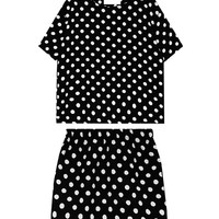 Black & White Dots Round Collar Suit