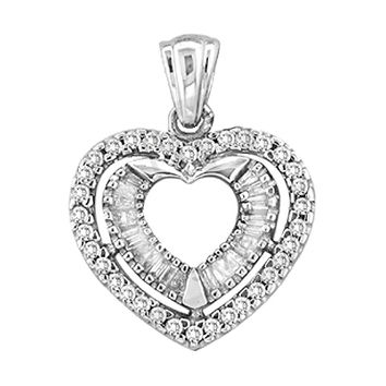 Round Bagguette Diamond Heart Ladies Pendant in 10k Gold 0.5 ctw
