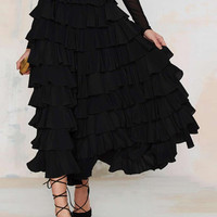 Black Flounce Layered Midi Skirt