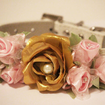 Gold Pink Floral Collar, Gold & Pink Flower with Rhinestones and Pearl, Pet Wedding Accessory, Dog Lovers, Love Pink