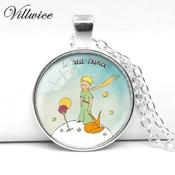 Vintage Cartoon Photo Little Prince and Fox Pendant Necklace 2017 Fashion 28MM Round Pendant Including Chain Choker Necklace