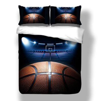 Wongsbedding 3D Basketball Bedding Set Duvet Cover With Pillowcases Single Twin Full Queen King Size 3PCS Quilt Cover