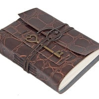 Alligator Faux Leather Vegan Journal with Heart Key Bookmark