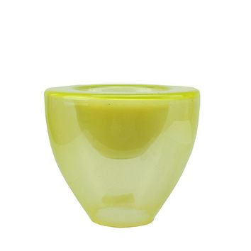 "6"" Decorative Lime Green Torchiere Shaped Glass Votive Candle Holder with Wax Candle"