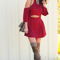Cut You Off Dress: Maroon