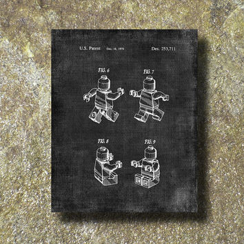 Lego Toy Mini Figures Patent Print Art Illustration Printable Instant Download Poster UP054gra