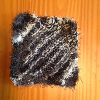 Hand Knit Marvelous Marble Black and White Super Scrubby