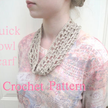 Quick Crochet Cowl Scarf, PDF Crochet Pattern, Fast Easy Simple, Neck Warmer Headband, Lacy Airy Open, Beginner