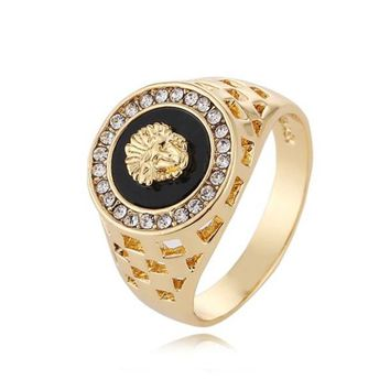 Versace Plated 18K gold lion head men's ring foreign trade jewelry