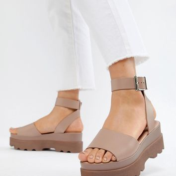 ASOS DESIGN Temple flatform sandals at asos.com