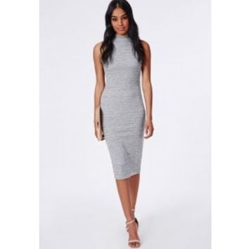 Jersey High Neck Midi Dress Grey Marl - Dresses - Midi Dresses - Missguided