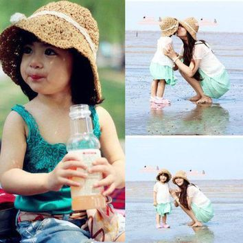PEAP78W ITFABS Ladies Child Hot Summer Beach Floppy Derby Casual Hat Wide Large Brim Straw Cap Bows