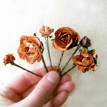 Copper Flower Paper Bobby Pins Set of 6. Burnt Peach, Terracotta Rose Hair Pins. Rustic Garden Wedding, Handmade Floral Hair Accessories