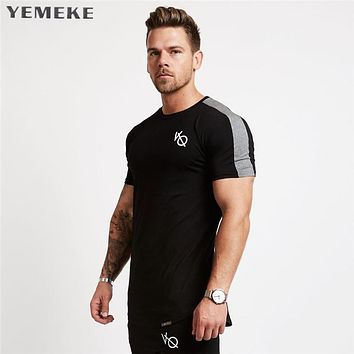 men Short sleeved t shirt cotton raglan sleeve gyms Fitness workout clothing male Casual fashion tees tops