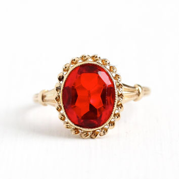 Vintage 10k Rosy Yellow Gold Simulated Ruby Ring - Art Deco 1940s Size 5 1/4 Oval Cut Red Glass Fine Esemco July Birthstone Jewelry