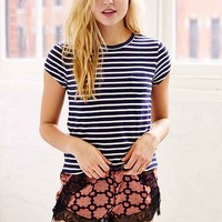 UO Stripe Shrunken Tee - Navy