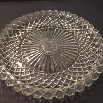 "Anchor Hocking Clear Glass 14"" Waffle Pattern Platter Torte Plate"