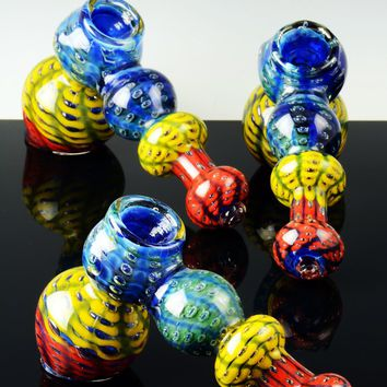 Large Thick Multicolor Silver Fumed Glass Bubble Hammer Bubbler - B640