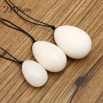 KiWarm 3PCS/set White Yoni Eggs Jade Egg With Cords Gemstone Massage Ball For Exercise Pelvic Vaginal Muscle Massager Stone