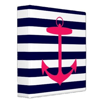 Pink Anchor Silhouette 3 Ring Binders