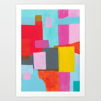 Yellow Rectangle Geometric Abstract Art Print by Karin Lauria
