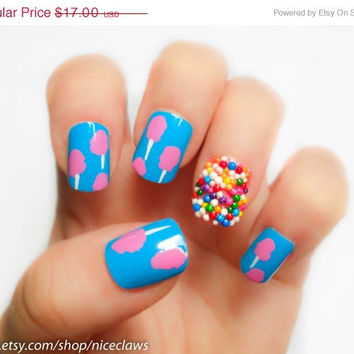 ON SALE Cotton Candy and Sprinkles Fake Nails Katy by niceclaws