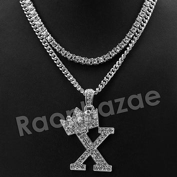Iced Out King Crown X Initial Pendant Necklace Set.