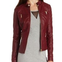 Quilted Zip-Front Moto Jacket