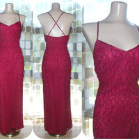 Vintage 80s Sexy RED Stretch Lace Cocktail Gown 8 S/M Open Back Side Slit Formal Fitted Dress