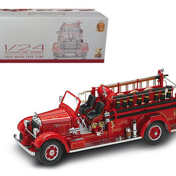 1935 Mack Type 75BX Fire Truck Red with Accessories 1-24 Diecast Model Car by Road Signature