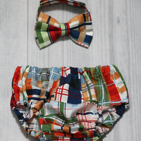 Patchwork Plaid Diaper Cover and Bow Tie Set. Birthday, Cake Smash, Church, Ring Bearer Baby.