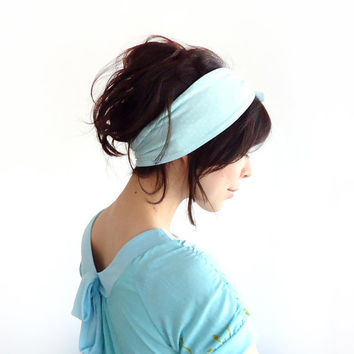 Tie Up Headscarf Mint with White Polka Dot by ChiChiDee on Etsy